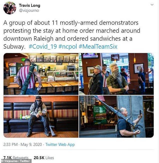 美国多名男子背着火箭弹上街抗议封锁,竟然成为网红